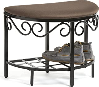 Mango Steam Berkeley Shoe Bench - Mocha Brown - Texture Woven Fabric Top and Durable Steel Legs