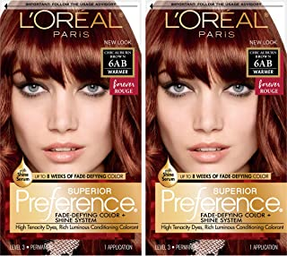 L'OrÃal Paris Superior Preference Fade-Defying + Shine Permanent Hair Color, 6AB Chic Auburn Brown, 2 Count Hair Dye