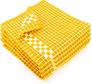 Fecido Classic Dark Kitchen Dish Towels with Hanging Loop - Heavy Duty Absorbent Dish Clothes - European Made 100% Cotton Tea Towels - Set of 4, Yellow