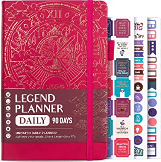 Legend Planner Daily for 3 Months - Undated Deluxe Monthly Weekly & Daily Planner to Hit Your Goals & Live Happier. Organi...