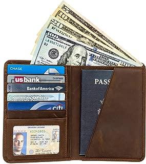 RFID Blocking Passport Holder Travel Wallet - Genuine Crazy Horse Leather Card Wallet