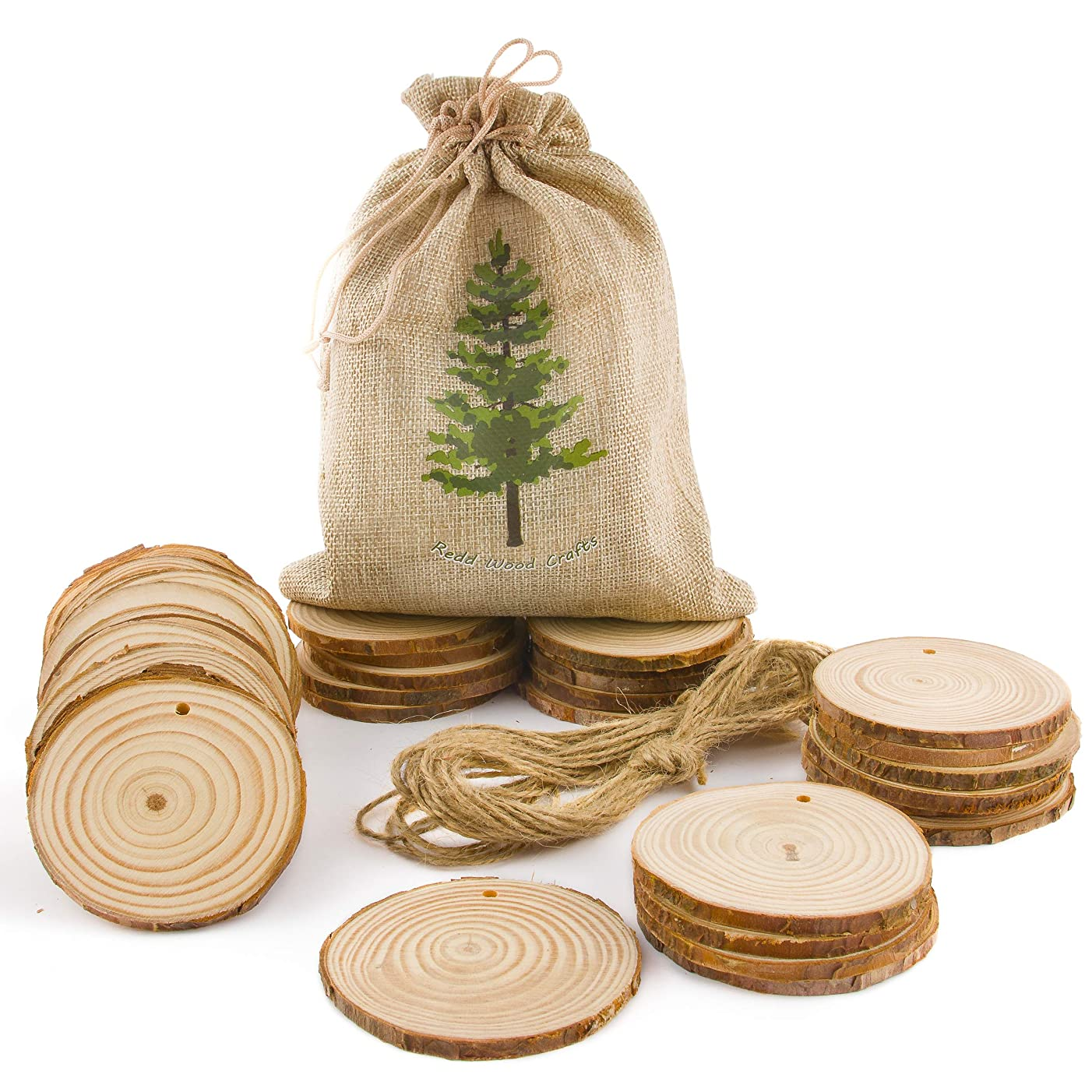 "Natural Wood Slices 33pcs. 3"" with 16ft of Twine; Pre-Drilled Holes; for DIY Crafts, Christmas Ornaments, Seasonal and Holiday Decorations, Rustic Wedding Décor; Unfinished Wooden Circles with Bark"