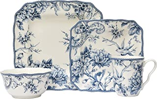 Adelaide Blue 16 Piece Porcelain Dinnerware Set Square, Service for 4