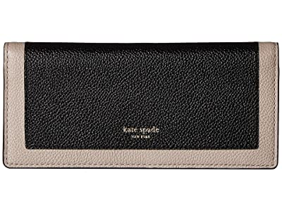 Kate Spade New York Margaux Bifold Continental Wallet (Black/Warm Taupe) Checkbook Wallet