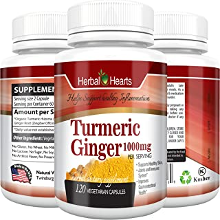 Turmeric Curcumin and Ginger Capsules- Joint Supplement for men and women, Arthritis, Anti-Inflammatory, Inflammation, Turmeric curucmin and ginger (120)- Herbal hearts