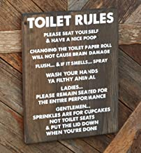 "Toilet Rules Sign- Funny Bathroom Decor- Please Seat Your Self -12 x 16""- Wash Your Hands Ya Filthy Animal"