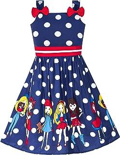 Sunny Fashion Girls Dress Blue Ladybug Pink Dot Children Clothing Size 2-8 Years