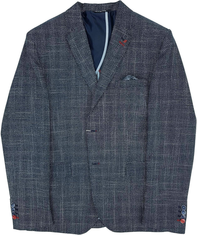 Chaqueta de hombre elegante vestido de algodón elástico slim fit deportivo micro fantasía