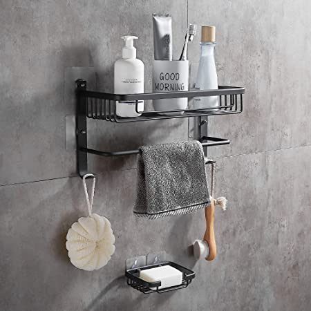 2 Corner Shelf Adhesive Wall Mounted Aluminum Corner Shower Caddy Shelf