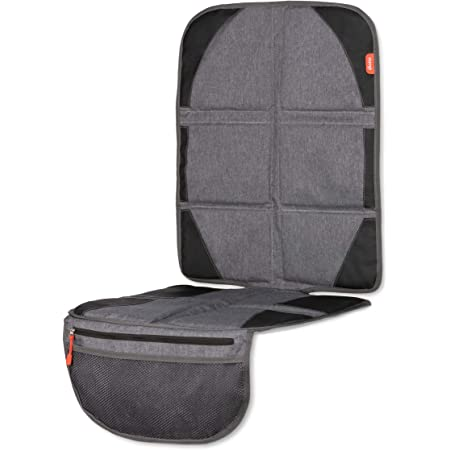 Diono Ultra Mat Deluxe Full Size Car Seat Protector with Integrated Heatshield, Crash Tested with Premium Ultra Thick Padding for Durable, Water Resistant Protection, Includes 3 Mesh Storage Pockets