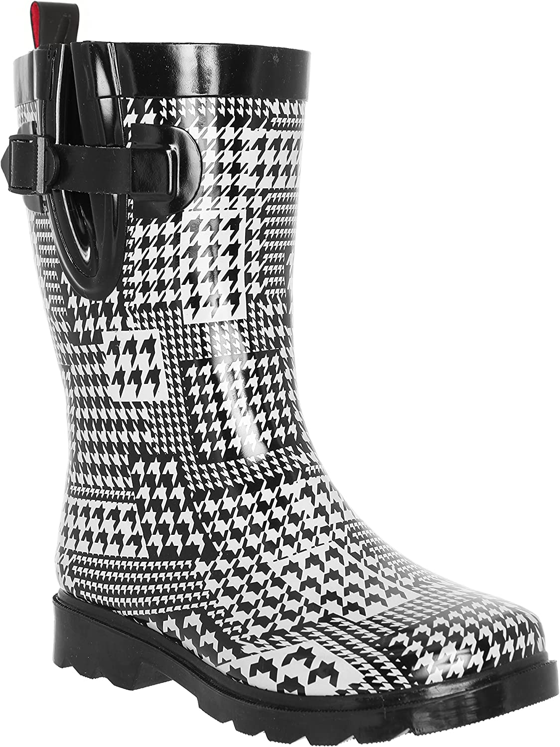 Capelli New York Ladies Shiny, Fanciful Paisley Printed Mid Calf Rain Boots