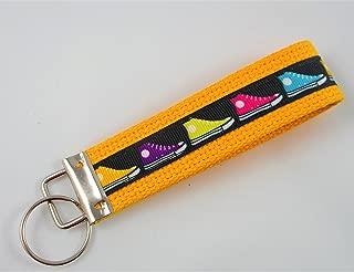 Sneaker Ribbon Wristlet Key Fob Keychain Yellow