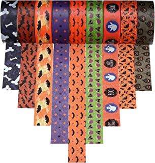 9 Rolls Halloween Washi Tape with Patterns of Star, Bat, Ghost, Pumpkin, Fat Eggplant and Bones for Halloween and Other Festivals DIY Decoration (Halloween Style 1)