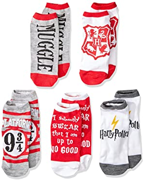 Harry Potter Muggle Hogwarts Express Platform 9 3/4 Solemnly Swear 5 Pack Low Cut Adult Socks