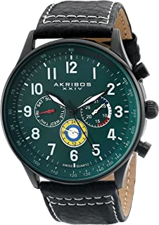 Multicolored Complications Men's Watch - 3 Subdials On Leather Calfskin with White Stitching Strap - AK751