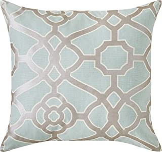 Ravenna Home Contemporary Geometric Pattern Throw Pillow, 20 Inch, Silver Sage / Silver