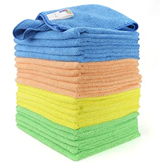Microfiber Cleaning Cloths (Pack of 20) Cleaning Rags - 30 x 40 cm - 5x Blue - 5x Green - 5x Orange - 5x Yellow