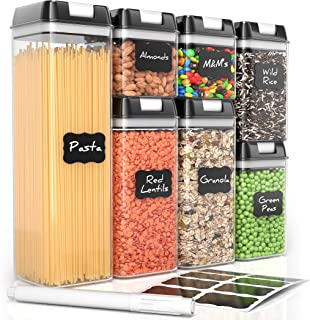 Airtight Food Storage Containers by Simply Gourmet. 7-Piece Kitchen Storage Containers BPA Free + 16 Labels & Marker. Air ...