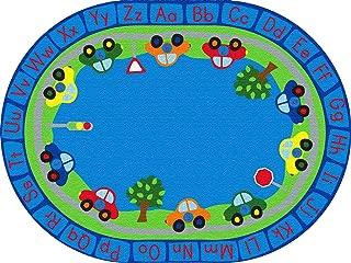 ECR4Kids All Around Cars Educational Alphabet Rug for Children, School Classroom Learning Carpet, Oval, 9 x 12-Feet