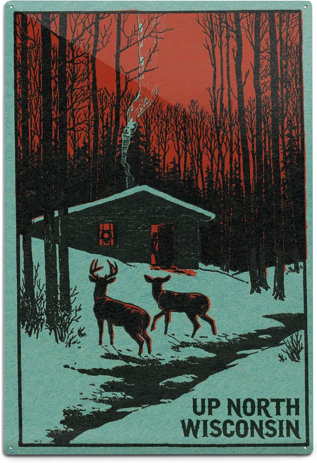 Up North Wisconsin Deer And Cabin In Winter Woodblock 9x12 Art Print Wall Decor Travel Poster Posters Prints