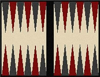pepita Backgammon Cherry Charcoal Needlepoint Canvas