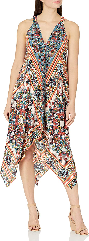 S.L. Fashions Women's V Neck Chiffon Printed Dress Asymmetrical Hanky Hem