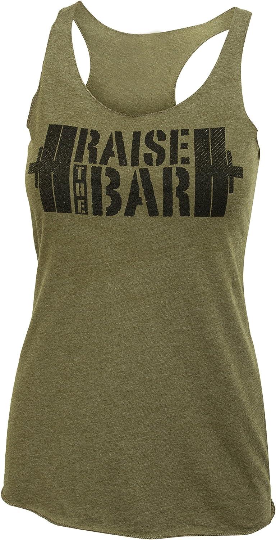 Jumpbox Fitness Raise The Bar  Big Stencil  Women's Barbell Military Green Tri Blend Racerback Workout Tank Top