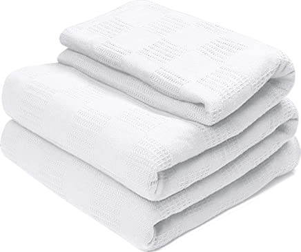 Utopia Bedding 100% Premium Woven Summer Cotton Blanket (Queen, White) Breathable Cotton Throw Blanket and Quilt for Bed & Couch/Sofa