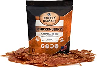 BRUTUS & BARNABY Chicken Jerky Dog Treats- Dehydrated Crunchy USA Premium Fillets, Grain-Free, Preservative-Free, No Fillers. All Natural Chicken Strips are Great for Dogs and Cats