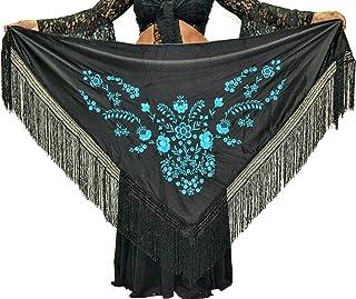 nero ricamato lilla 175 x 75 cm ANUKA Mantone medio triangolare di fenicottero o sevillane