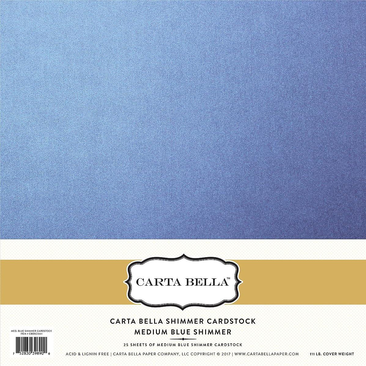 Carta Bella Paper Company Med 92lb Medium Blue Shimmer Cardstock 111lb. Cover