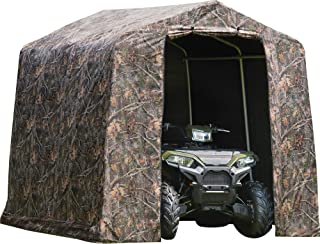 ShelterLogic 8` x 8` Shed-in-a-Box All Season Steel Metal Peak Roof Outdoor Storage Shed with Printed Camouflage Cover and Heavy Duty Reusable Auger Anchors