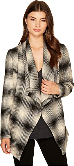 Mower Light Plaid Drape-Front Wrap Jacket