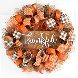 Thankful Wreath | Happy Fall Thanksgiving Deco Mesh Front Door Wreath; Brown Orange Burlap White