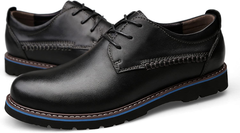 KEEPwhiteE Men' s Genuine Leather British Business Casual shoes Plain Toe Oxfords