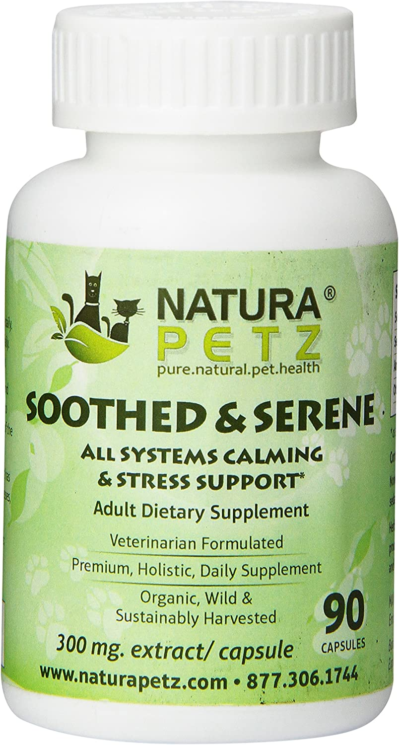 Natura Petz Soothed and Serene All Systems Calming, Stress, Epilepsy and Seizure Support for Adult Pets, 90 Capsules, 300mg Extract Per Capsule