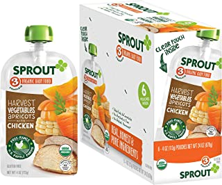 Sprout Organic Baby Food Pouches Stage 3, Organically Sourced Meat Protein, Harvest Vegetables Apricots w/ Chicken, 4 Oz, 6 Pouches (Pack of 2)