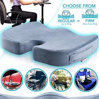 TheComfortZone Orthopedic Memory Foam Seat Cushion for Coccyx and Sciatica pain relief. Seat Booster for Car and Office chairs. Relieves pressure and is super comfy. | REGULAR