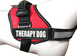 ALBCORP Reflective Therapy Dog Vest Harness, Woven Polyester & Nylon, Adjustable Service Animal Jacket, with 2 Hook and Loop Therapy Dog Removable Patches