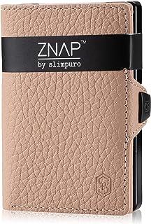 ZNAP Portafoglio Porta Carte di Credito - Protezione RFID - Crema bottalato - Fino a 4-8 carte - Portafoglio Uomo Slim, Po...