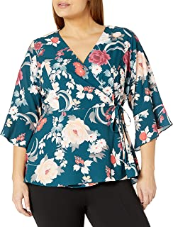 City Chic Women's Apparel Women's Plus Size Faux wrap Front top with Ruffle Elbow Sleeves