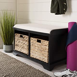 Safavieh American Homes Collection Freddy Distressed Black Wicker Storage Bench