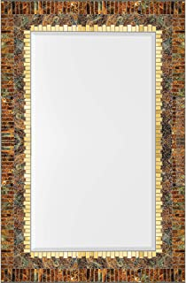 """Zorigs, Handcrafted Mosaic Large Decorative Wall Mirror, 24"""" x 36"""", Rectangular Wall Mirror of Chestnut Brown, Gold, and Forest Green Pieces Décor"""