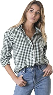 CAMIXA Gingham a Cuadros de la Mujer Casual Button-Down Shirt Go Preppy
