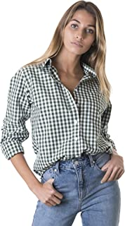 Women's Gingham Shirt Checkered Casual Long Sleeve Button Down Plaid Top