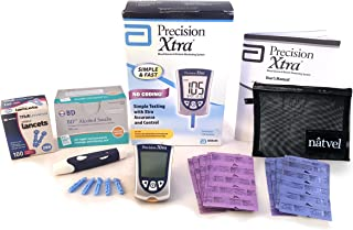 Precision Xtra Blood Glucose and Ketone Monitoring System Bundle Kit - Abbott Precision Xtra Meter + 30 Ketone Strips + 30 Glucose Strips + 100 Abbott Lancets + 100 Wipes Complete Diabetes Testing Kit