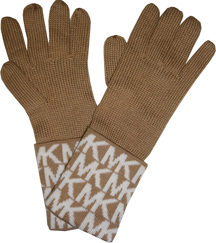 Michael Kors Womens MK Logo Knit Cuffed Gloves, Camel / Cream, One Size