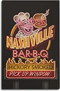 Nashville, Tennessee – Barbacoa de neón Sign, madera, Multicolor, 10 x 15 Wood Sign