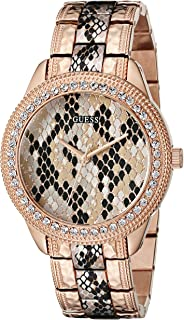 GUESS Women's U0624L2 Rose Gold-Tone Python Print Watch