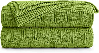 Longhui bedding Cotton Cable Green Knit Throw Blanket for Couch Chairs Bed Beach, Home Decorative Throws Blankets, 50 x 60 Inch, 2.2lb